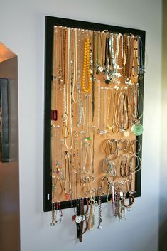 Hanging necklace holder / Jewelry organizer storage