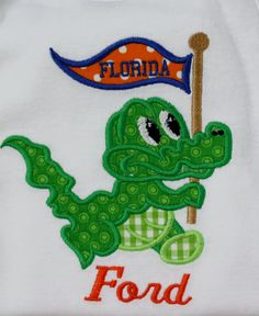 Bodysuit with Gator Carrying a Pennant with by AppliquesByGranjan