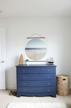 Modern Coastal Bedroom & Painted Dresser + FREE OCEAN PRINT Today is the day! I am finally revealing Jack's Modern Coastal Bedroom, the before & afters and all of the sources! Coastal Bedding, Coastal Bedrooms, Coastal Living Rooms, Coastal Cottage, Coastal Curtains, Cottage Living, Moving Furniture, Coastal Furniture, Bedroom Furniture