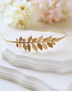 Blattgold Zweig Stirnband, großes Blatt Stirnband, Hochzeit Stirnband, Braut Haar-Accessoire, Woodland Garten Hochzeit on Etsy, 27,11€