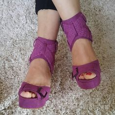 Bright purple/pink heels Open toe, side strap heels, I wore them once on my daughter's birthday. Other then that they are in great condition and truly very beautiful shoes. Colin Stuart Shoes Heels