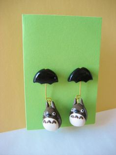 Totoro Umbrella earrings made from polymer clay! I'd wear these!