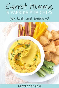Carrot Hummus with Toasted Paprika Pita Chips - Kids Snacks Healthy Picnic Foods, Healthy Dips, Healthy Snacks For Kids, Dinner Recipes For Kids, Baby Food Recipes, Healthy Dinner Recipes, Kids Meals, Hummus And Pita, Picnic Dinner