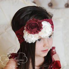 Burgundy  Headband/Dusty Pink Headband/Flower Girl Headband/Infant Headband/Baby Headband/Newborn Headband/Toddler Headband/Girl Headband by OohLaLaDivasandDudes on Etsy