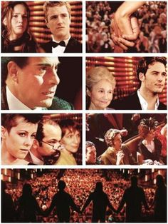 """""""Then unexpectedly all the victors grasp hands and you can see the audience visibly react. President Snow is seething."""""""