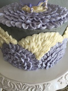 Lavender, cream and gray birthday cake