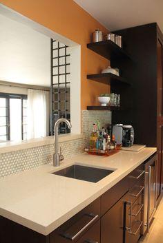 kitchen walls: tile, paint, and shelves