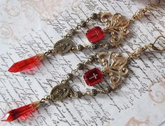 RESERVED Vintage Red Cross Bead Faceted Glass Rosary Connector Rhinestone Rondelle Vintage Filigree Bead Chain Earring