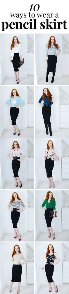 10 ways to wear a pencil skirt   ~ it's kind of a midi skirt...! I love pencil skirts so I find this picrure to be really useful advice ☺