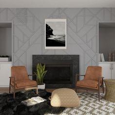 2021 color of the year: Pantone Grey Modern White Living Room, Modern Family Rooms, Mid Century Modern Living Room, Living Room Green, Transitional Living Rooms, Modern Room, Mid-century Modern, Contemporary, Modern Interior Design