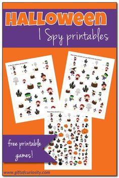 We& got some more Halloween I Spy printables to share with you all! A great Halloween activity for kids, teachers and parents! Fun Activities For Preschoolers, Halloween Activities For Kids, Printable Activities For Kids, Halloween Games, Halloween Kids, Halloween Crafts, Free Printables, Counting Activities, Preschool Ideas