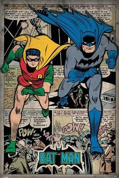 """Batman - DC Comics Poster (Retro Style Comic Montage - Batman & Robin) (Size: 24"""" x 36"""") - Comic Poster Size: 24″ x 36″ Ships rolled in sturdy cardboard tube  - read more . . . Re-pin"""