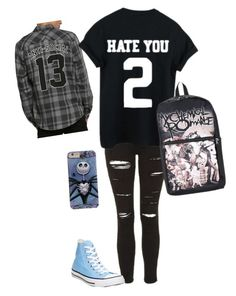 """""""First day of school on Wednesday"""" by kylethevampire ❤ liked on Polyvore featuring Topshop and Converse"""