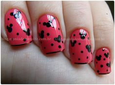 Mickey Mouse Disney Nails - but red and black