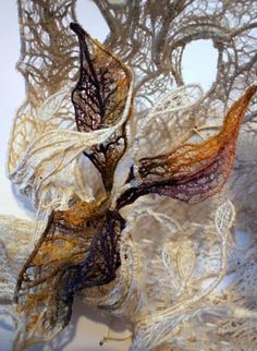 pauline verrinder, I love the use of machine embroidery to reflect the fragile image of a leaf skeleton. I am inspired by the creative form and structure of this piece. Textile Texture, Textile Fiber Art, Textile Artists, Fabric Textures, Organic Forms, Natural Forms, Natural Structures, Textiles Techniques, Art Techniques