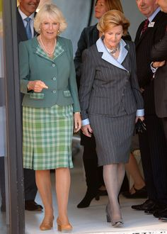 Camilla known as The Duchess Of Rothesay in Scotland (L) and Queen Sonja of Norway attend the official opening of a new Maggie's cancer support centre on 23 Sep 2013 in Aberdeen, Scotland.  The royal pair, both in dresses and blazers, were given a tour of the centre
