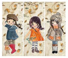 Autumn Wind  set of 6 bookmarks  digital collage by bydigitalpaper, $4.35