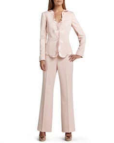 Pant Suit with Scalloped Placket on Jacket by Albert Nipon at Neiman Marcus.