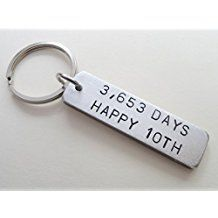 8 year anniversary gift bronze tag keychain engraved w 8 years