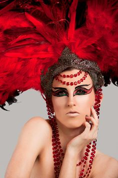 Beautiful Drag Queens   READY TO SHIP Beautiful Red Glam coque feather Fantasy headdress ...