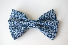 Navy White Floral Bow $3.50 + Free Shipping With Coupon- INSTABOW