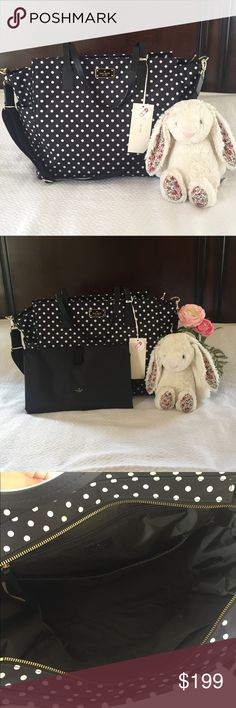 """Kate Spade Blake Avenue Diamond Dot Kaylie Bag NWT Kate Spade Blake avenue diamond dot kaylie diaper bag. Beautiful and spacious over the shoulder baby bag with zip top closure and adjustable cross body strap. Interior has one large zip pocket, large slide pocket, and two small slide pockets. Exterior has two bottle pockets and large slide pocket. 9"""" drop length or 18"""" drop length with optional extenders. Complete with 14 karat gold plated hardware and changing pad! Great for boy or girl…"""