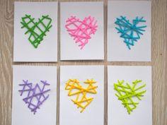 Alla hjärtans dag-kort med garn