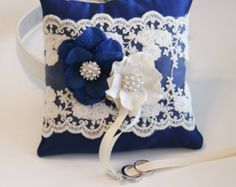 Royal Blue Ring Pillow Dog ring bearer by LADogStore on Etsy Ring Bearer Pillows, Ring Pillows, Flower Crown Tutorial, Wedding Ring Cushion, Beaded Dog Collar, Blue Rings, Pillow Set, Wedding Accessories, Victorian Ring