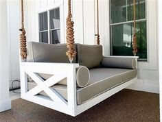 The ''Modified Cooper River'' Swing Bed Porch Swing Frame, Porch Swing With Stand, Wood Swing, Porch Bed Swings, Hanging Porch Bed, Porch Swing Cushions, Patio Bed, Outdoor Patio Swing, Pallet Swing Beds