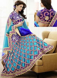 Beautiful Blue Lehenga with Unique Design. #lehenga