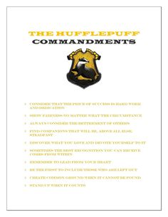 THE HUFFLEPUFF Commandments