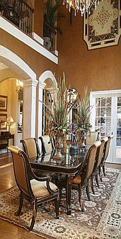 home interior home design room design decorating before and after Elegant Dining Room, Luxury Dining Room, Beautiful Dining Rooms, Tuscan Dining Rooms, Dining Room Paint Colors, Dining Room Design, Dining Room Furniture, Furniture Ideas, Tuscan Furniture