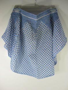 Vintage GINGHAM APRON Blue SMOCKED  by LavenderGardenCottag