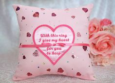 Valentine's Day Pink I Give My Heart For You To Keep Wedding Ring Bearer Pillow by SewDelightfulPillows
