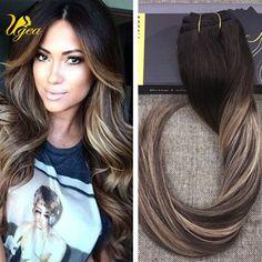 8A Grade Full Head Clip in Human Hair Extensions Dark Brown and Chocolate  Brown  da9e5a305