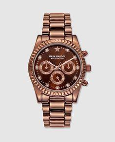 Reloj multifunción de metal sólido con esfera marrón y correa de metal.