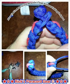 How to fix a paracord bracelet clasp without taking the bracelet apart   ¤ first cut the old clasp off with a pair of diagnal cutters(wire cutters will work) ¤ then get a piece of paracord long enough to make a diamond knot fish through the loops where clasp was. Then make the diamond knot ¤ cut clasp off other end pull the loops foward this should be long enough for the diamond knot. Presto fixed...depending on size you may have to adjust length of the diamond knot to fit wrist.
