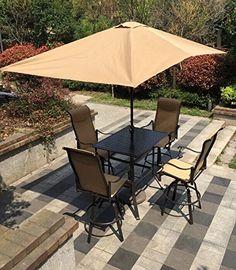 Sorrento Swivel Sling Patio Bar Dining Set (Bronze/Cream) with rectangle umbrella in Java Outdoor Patio Bar Sets, Outdoor Living, Outdoor Decor, Sorrento, Dining Set, Java, Bronze, Cream, Home Decor
