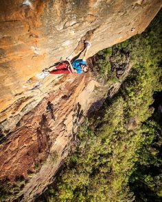 From the archive ... Andrew on the cruxy bit of one of the best climbs I have ever jumped on ... Hairline 2000 (28 7c) at the Diamond Falls Blue Mountains