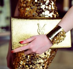 Gold sequin YSL clutch