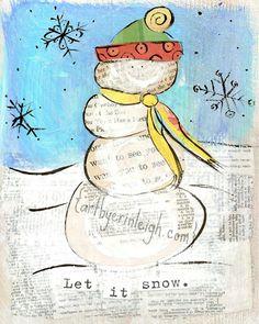 Sweet Snowmen Mixed Media Collage   Flickr - Photo Sharing!