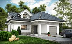 Zdjęcie projektu Maja WOT1000 Dormer Bungalow, Modern Bungalow House, Modern Fence Design, Self Build Houses, Three Bedroom House, Roof Structure, Facade House, Design Case, Home Reno