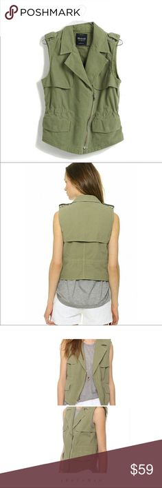 Madewell Olive Green Modern Vest One of my favorite vests. Pair with a striped top or floral dress! In good used condition minor pink discoloring around the armpit area as depicted otherwise in excellent shape. Recently laundered but didn't think about spot cleaning. Fits like the stock photos. True to size. Color is more like the first 3 photos. Madewell Jackets & Coats Vests
