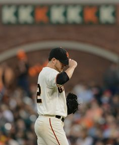 The San Francisco Giants' Jake Peavy (22) holds the the Milwaukee Brewers hitless through six innings of their MLB game played at AT&T Park in San Francisco, Calif., on Saturday, Aug. 30, 2014. (Dan Honda/Bay Area News Group)