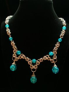 Teal blue byzantine and glass bead pendant by galiam34jewelry, $30.00