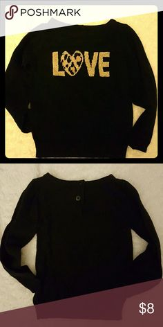 Crazy eight sweater Black sweater with gold letters and leopard print heart to spell LOVE crazy eight Jackets & Coats