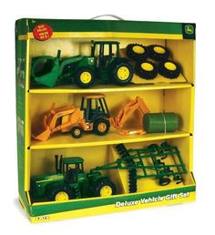 "8"" John Deere Deluxe Vehicle Value Set by ERTL. $25.06. From the Manufacturer                Produced by Ertl, the leader in farm toys for over 60 years, this incredible value set includes row crop tractor with removable front loader and bale   backhoe, 4WD tractor with ripper, and four removable dual wheels.  Each vehicle features die cast and plastic parts in addition to free rolling wheels and authentic John Deere decoration. A great gift idea for the John Deere fan on ..."
