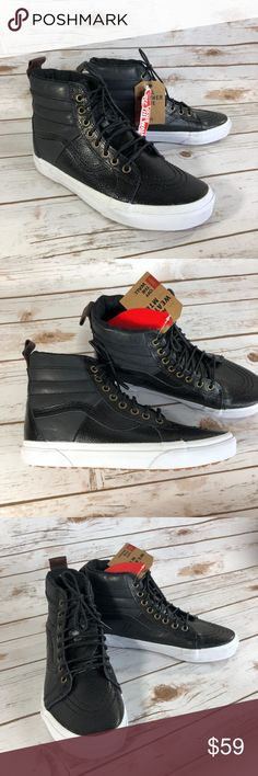"""Vans SK-8 Hi All Weather MTE Pebble Grain NEW *Price Firm* New with Tags attached but No Box Scotchgard treated leather Fleece lining Some signs of wear on the sole from try on's (pictured) Unisex shoes: Girls: Size 5 - Out Sole=9.5""""; High Top to Sole=5"""" Size 5.5 - Out Sole=9.5""""; High Top to Sole=5"""" Boys: Size 3.5- Out Sole=9.5""""; High Top to Sole=5"""" Size 4 - Out Sole=9.5""""; High Top to Sole=5"""" Vans Shoes Sneakers"""