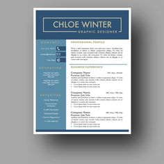 Creative Resume Template  The Ophelia  Professional Resume