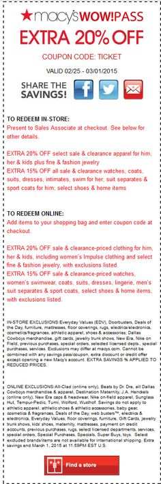 Pinned February 24th: Extra 20% off at #Macys or online via promo code TICKET #coupon via The #Coupons App